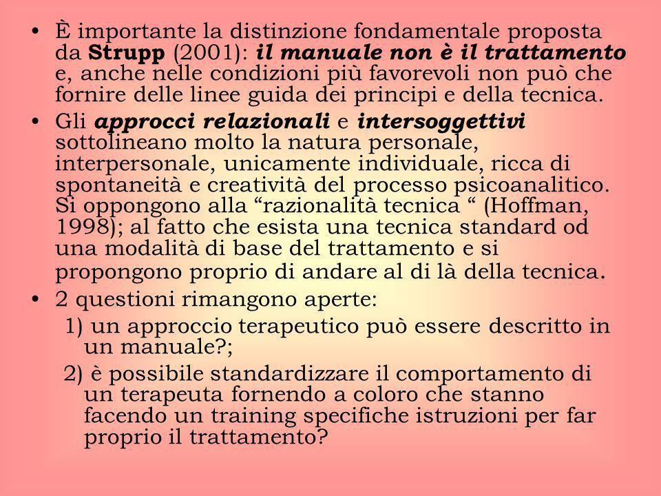 È importante la distinzione fondamentale proposta da Strupp (2001): il manuale non è il trattamento e, anche nelle condizioni più favorevoli non può che fornire delle linee guida dei principi e della tecnica.