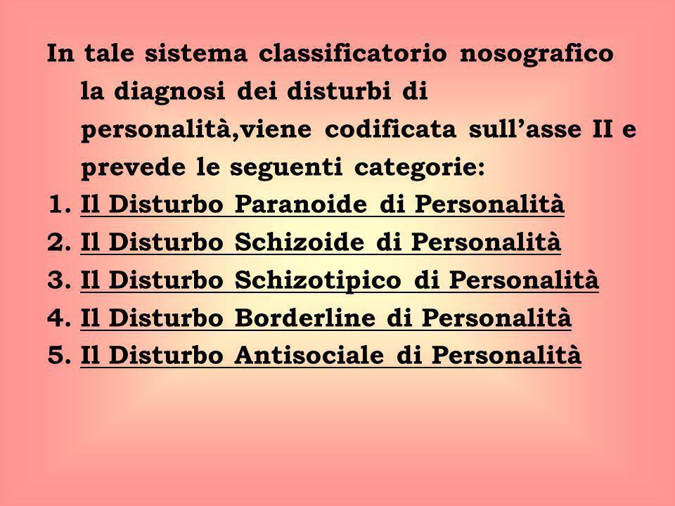 In tale sistema classificatorio nosografico la diagnosi dei disturbi di personalità,viene codificata sull'asse II e prevede le seguenti categorie: