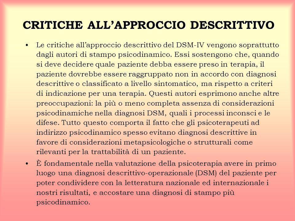 CRITICHE ALL'APPROCCIO DESCRITTIVO