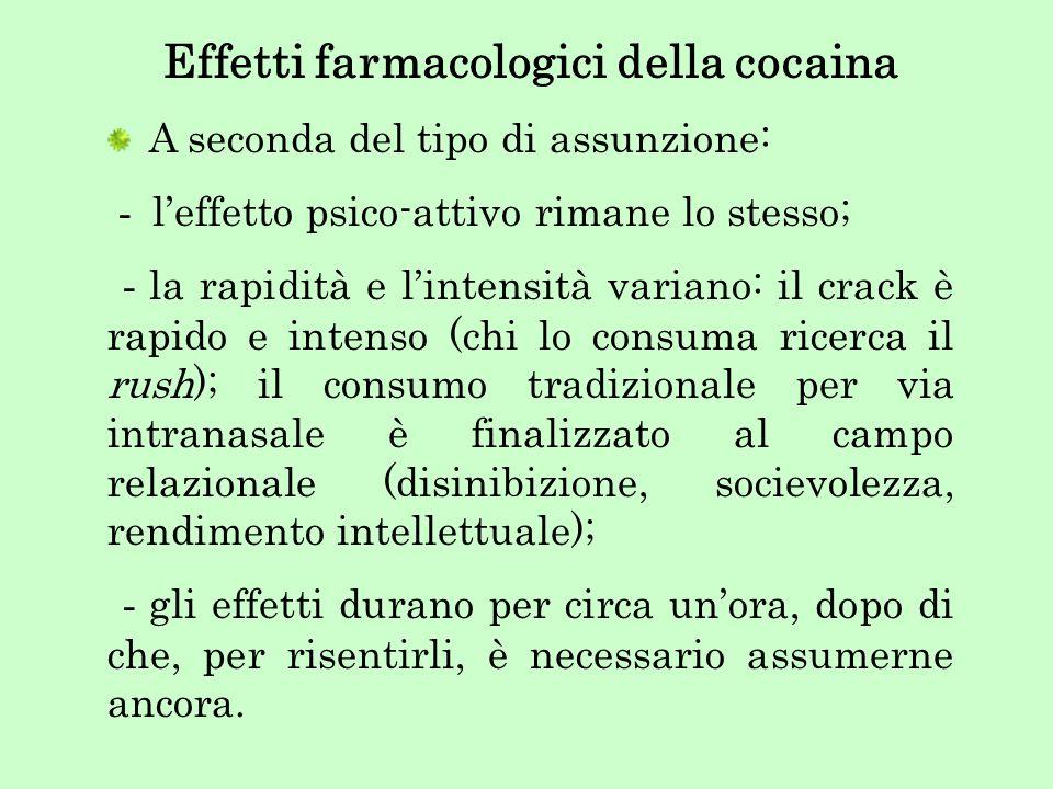 Effetti farmacologici della cocaina