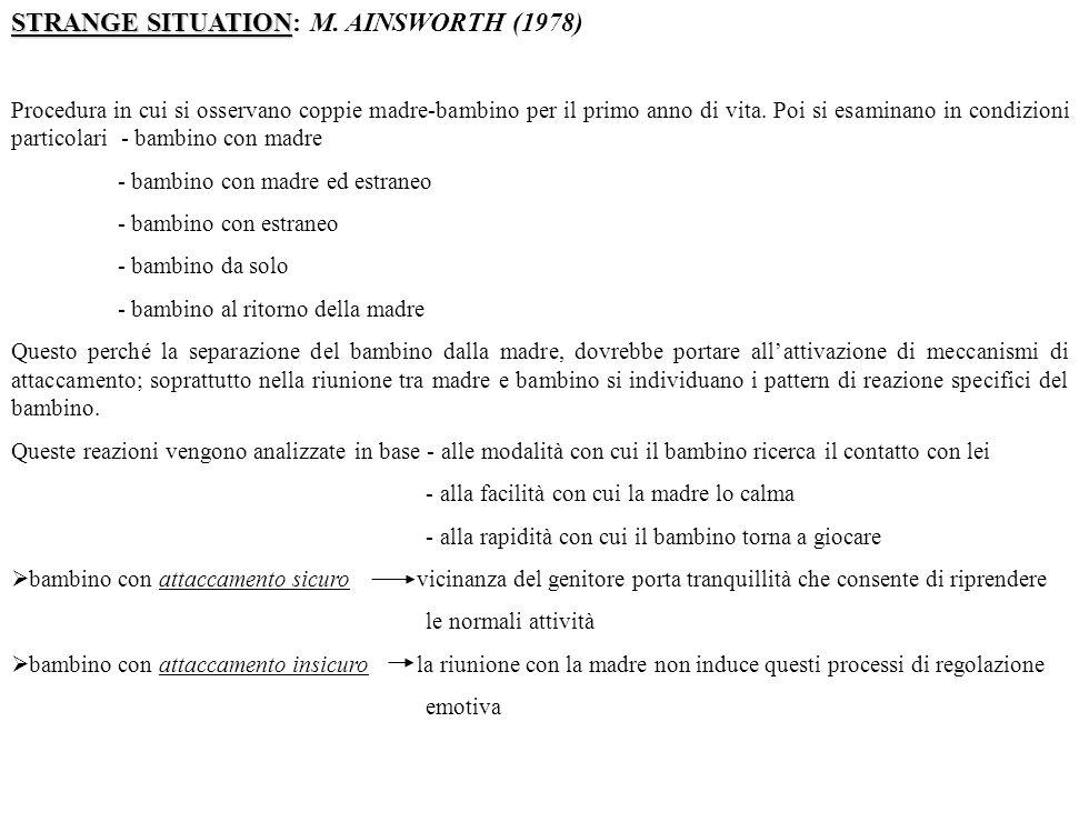 STRANGE SITUATION: M. AINSWORTH (1978)