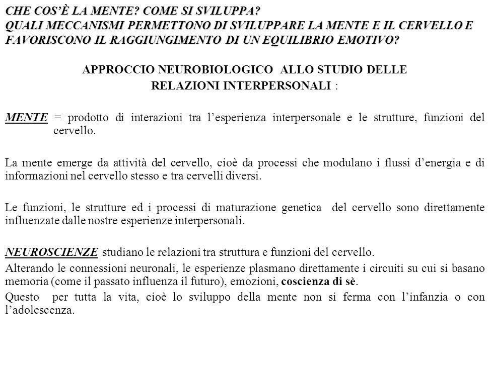 APPROCCIO NEUROBIOLOGICO ALLO STUDIO DELLE