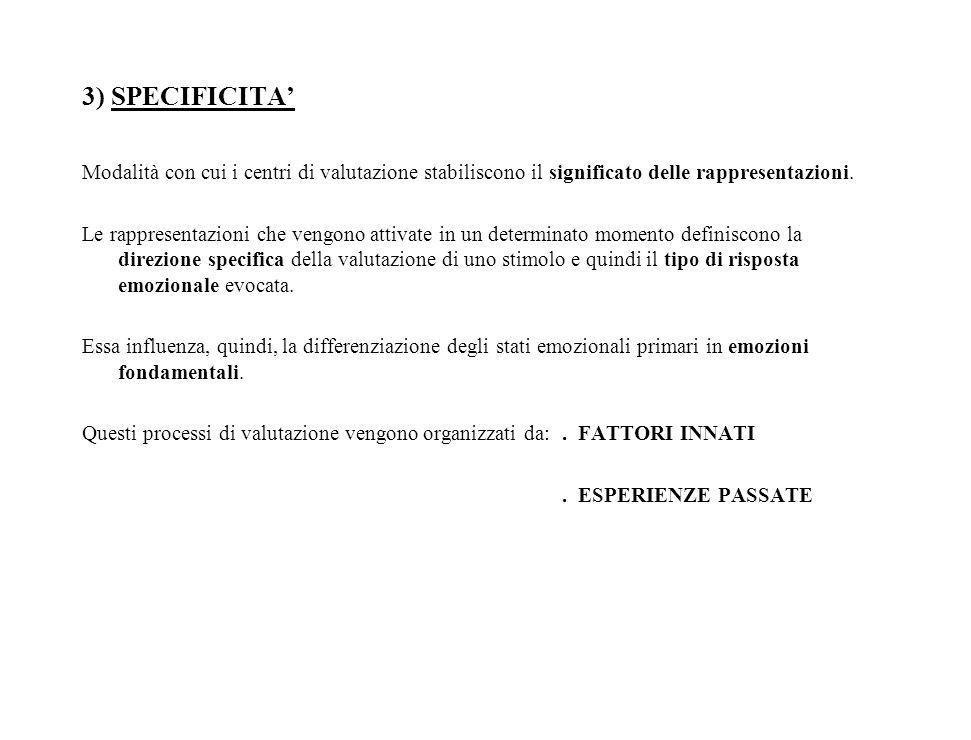3) SPECIFICITA' Modalità con cui i centri di valutazione stabiliscono il significato delle rappresentazioni.