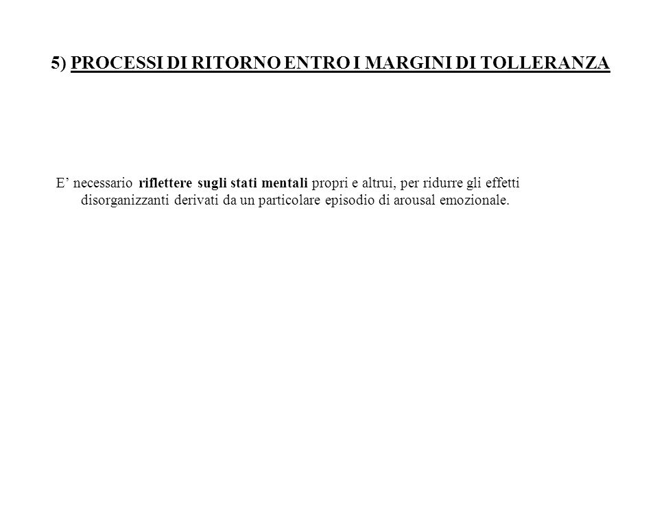 5) PROCESSI DI RITORNO ENTRO I MARGINI DI TOLLERANZA