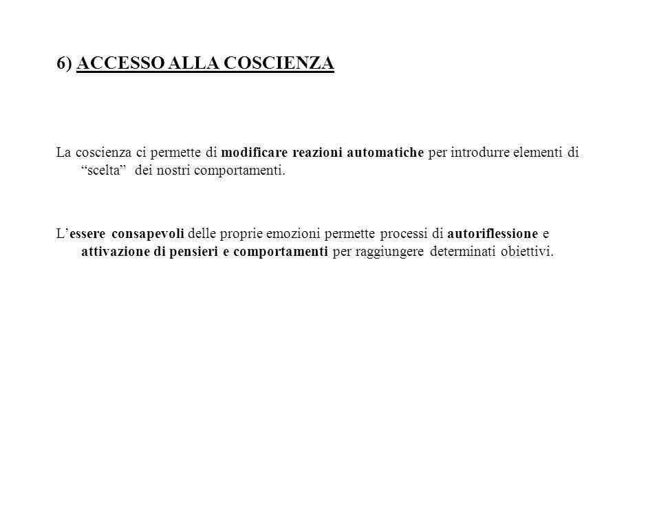 6) ACCESSO ALLA COSCIENZA
