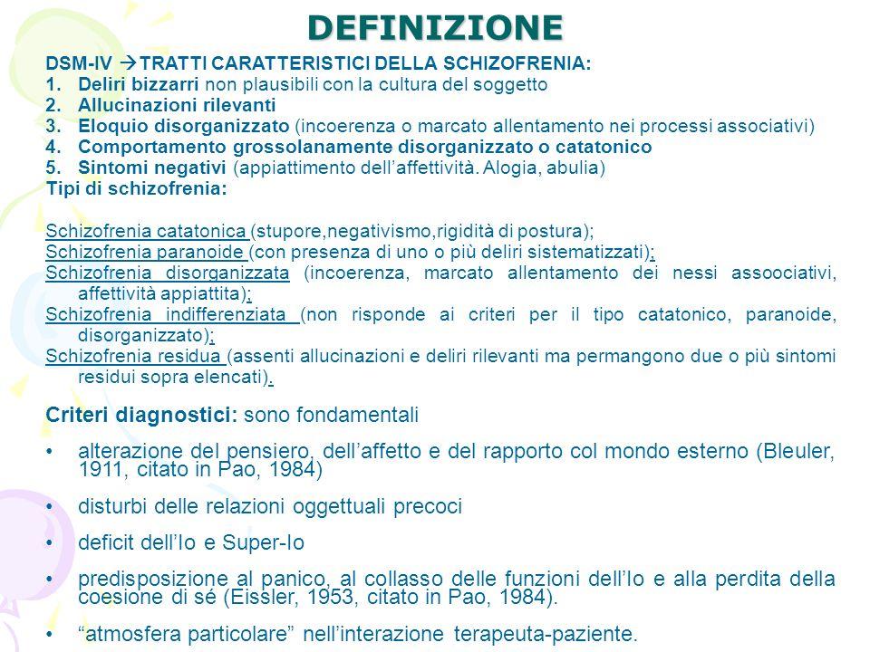 DEFINIZIONE Criteri diagnostici: sono fondamentali