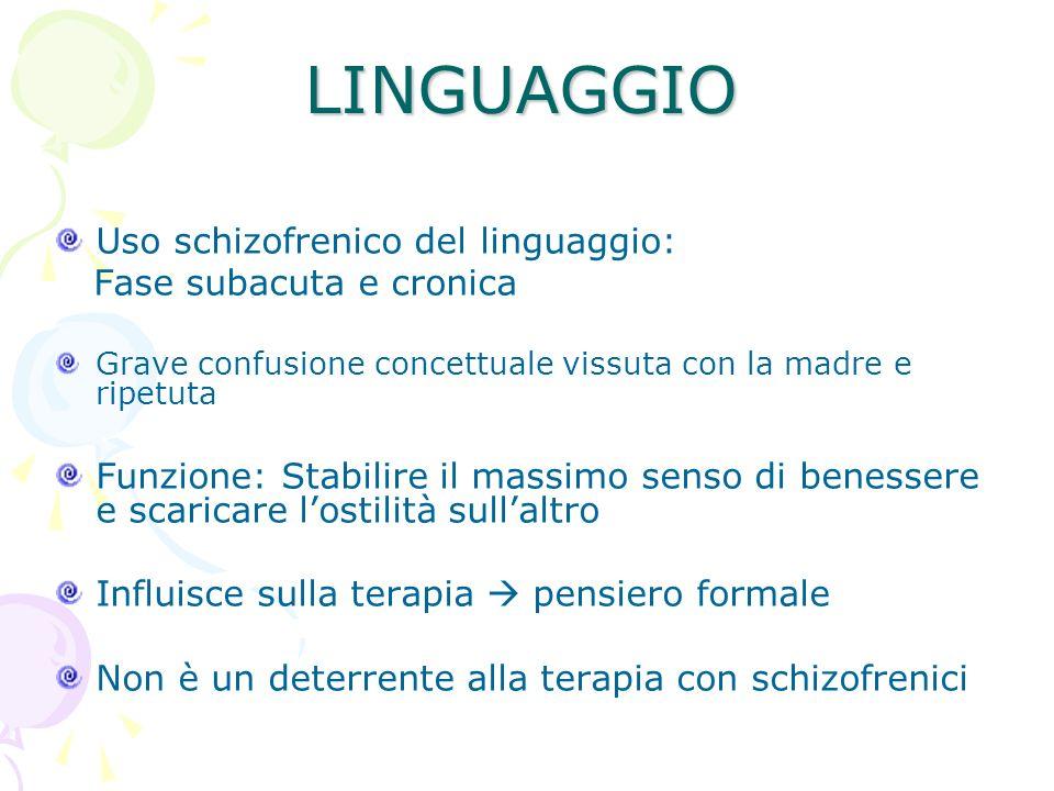 LINGUAGGIO Uso schizofrenico del linguaggio: Fase subacuta e cronica