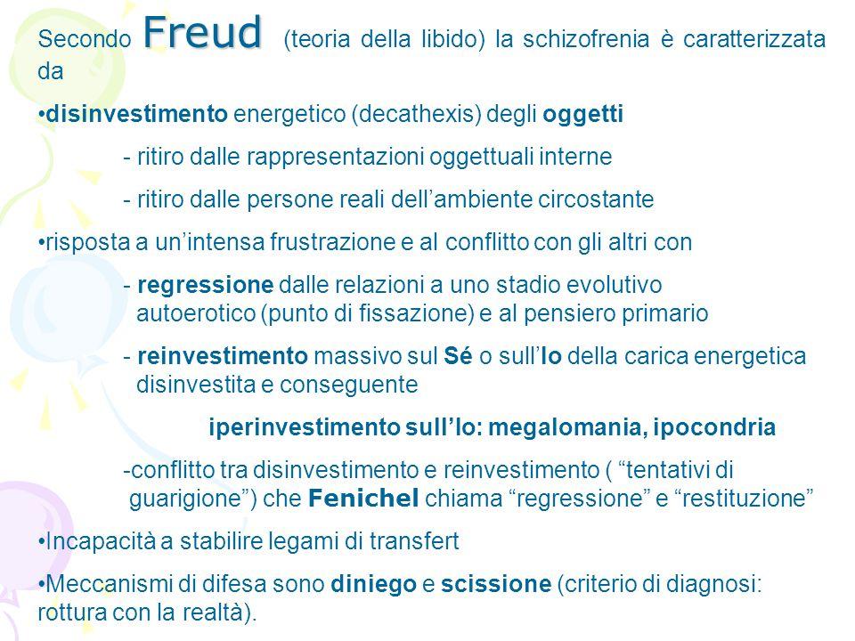 Secondo Freud (teoria della libido) la schizofrenia è caratterizzata da