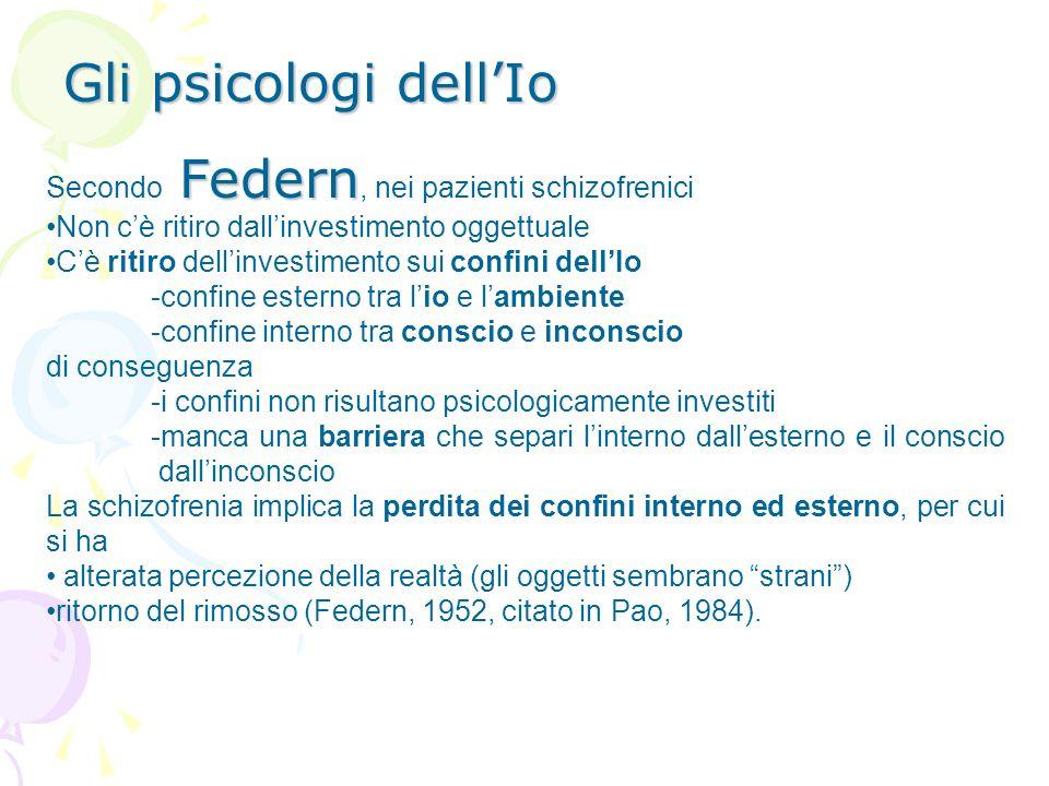 Gli psicologi dell'Io Secondo Federn, nei pazienti schizofrenici