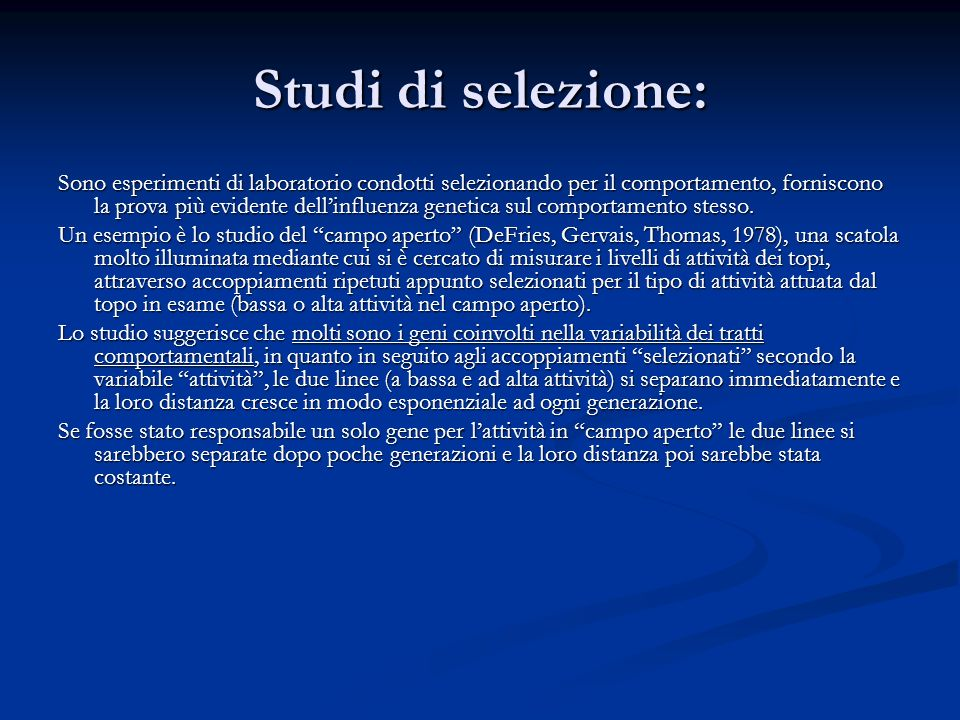 Studi di selezione: