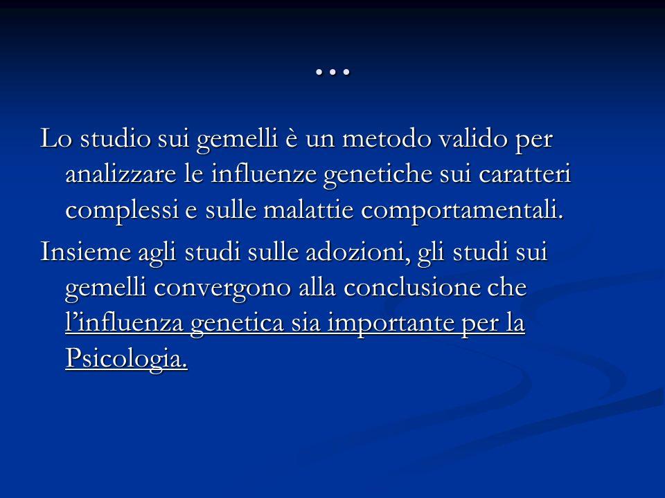 … Lo studio sui gemelli è un metodo valido per analizzare le influenze genetiche sui caratteri complessi e sulle malattie comportamentali.