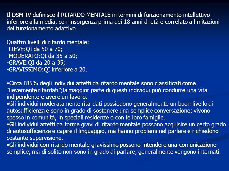 Il DSM-IV definisce il RITARDO MENTALE in termini di funzionamento intellettivo inferiore alla media, con insorgenza prima dei 18 anni di età e correlato a limitazioni del funzionamento adattivo.