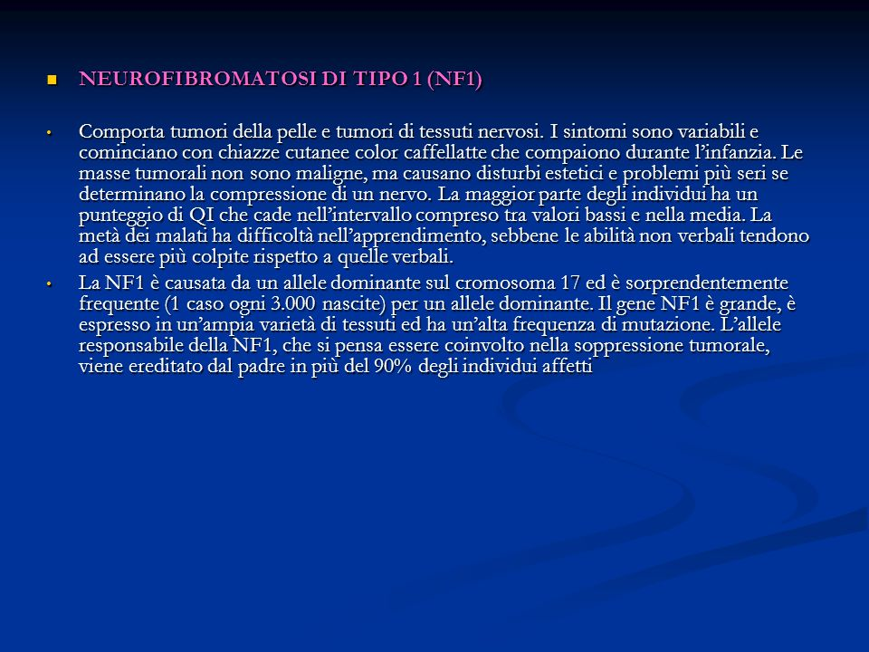 NEUROFIBROMATOSI DI TIPO 1 (NF1)