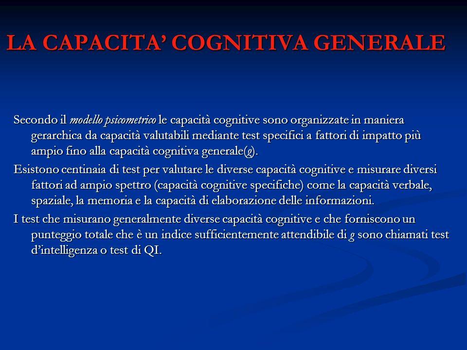 LA CAPACITA' COGNITIVA GENERALE