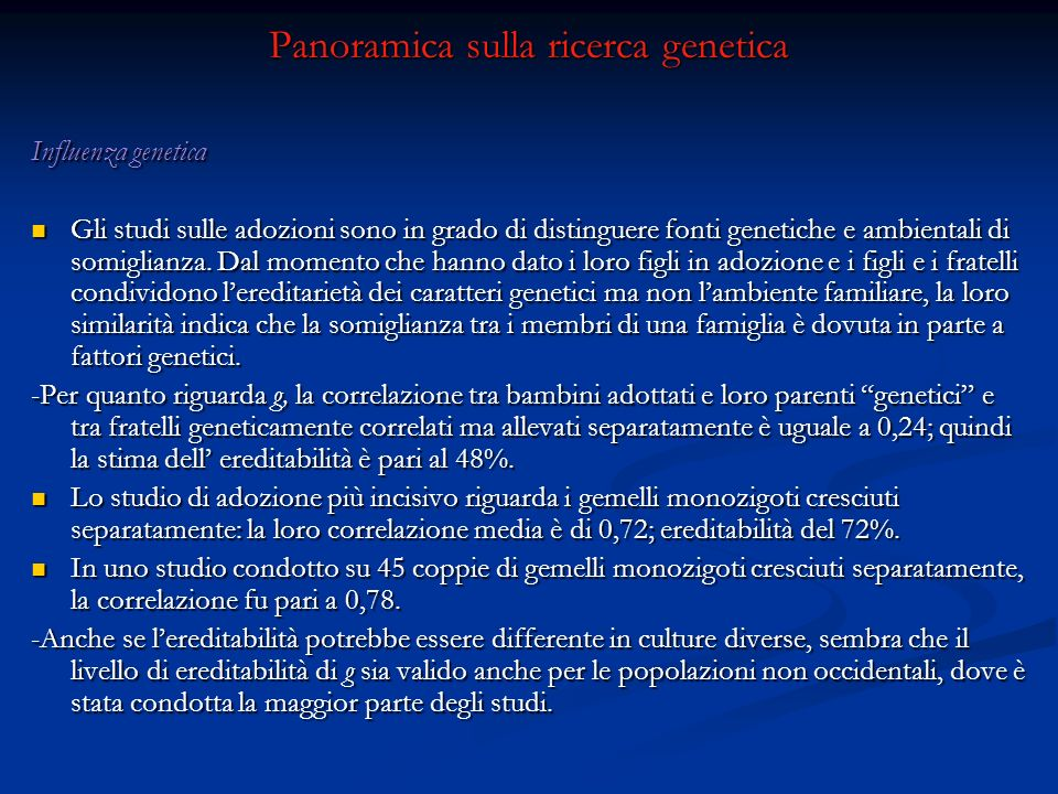 Panoramica sulla ricerca genetica