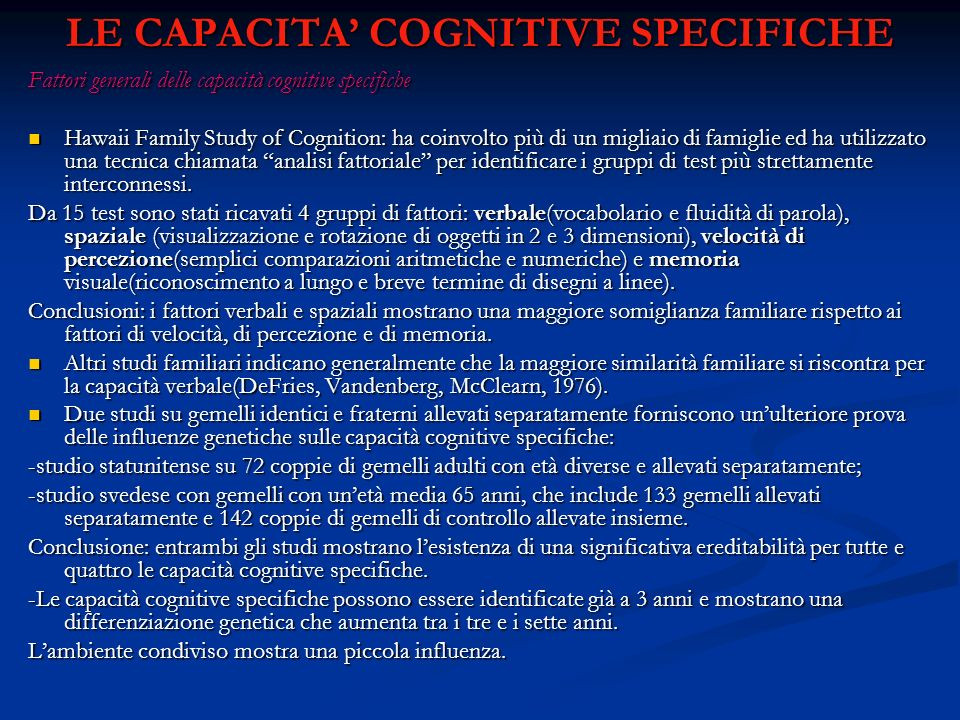 LE CAPACITA' COGNITIVE SPECIFICHE