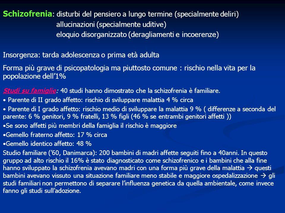 Schizofrenia: disturbi del pensiero a lungo termine (specialmente deliri)