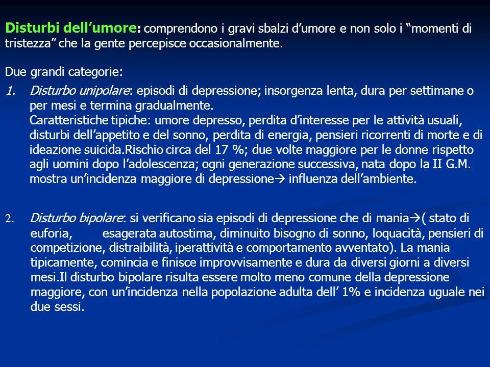 Disturbi dell'umore: comprendono i gravi sbalzi d'umore e non solo i momenti di tristezza che la gente percepisce occasionalmente.