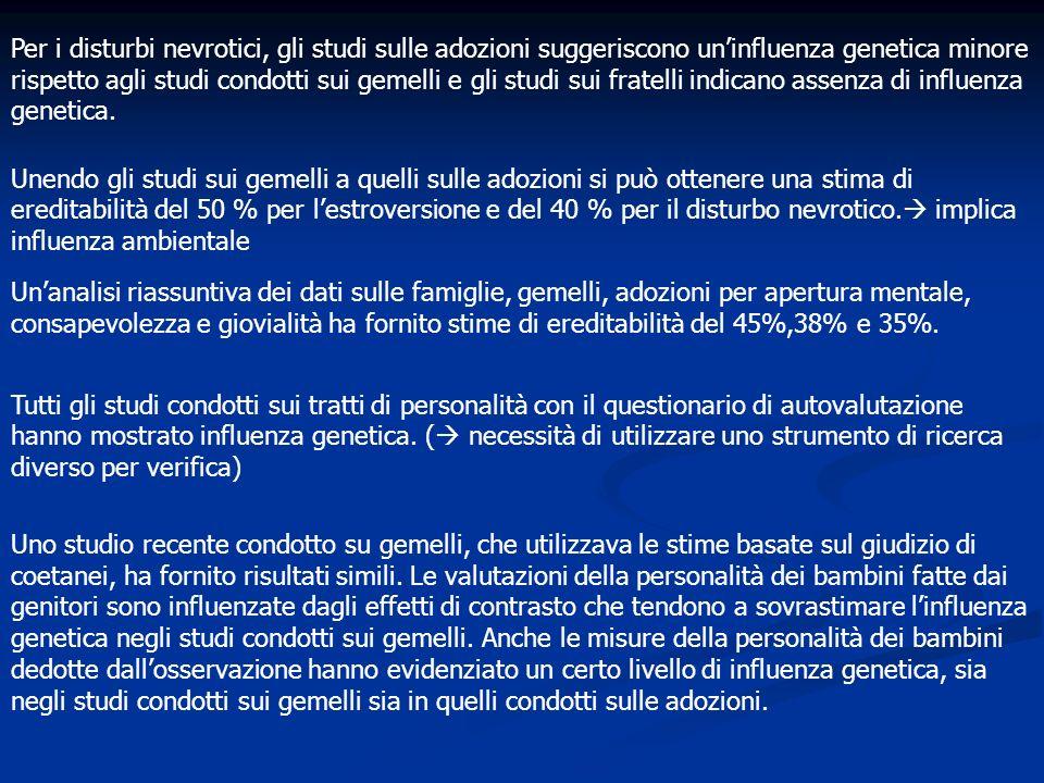 Per i disturbi nevrotici, gli studi sulle adozioni suggeriscono un'influenza genetica minore rispetto agli studi condotti sui gemelli e gli studi sui fratelli indicano assenza di influenza genetica.