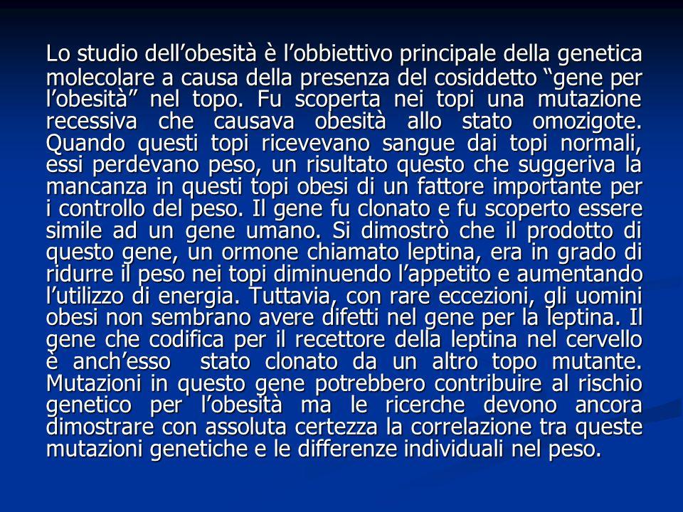 Lo studio dell'obesità è l'obbiettivo principale della genetica molecolare a causa della presenza del cosiddetto gene per l'obesità nel topo.