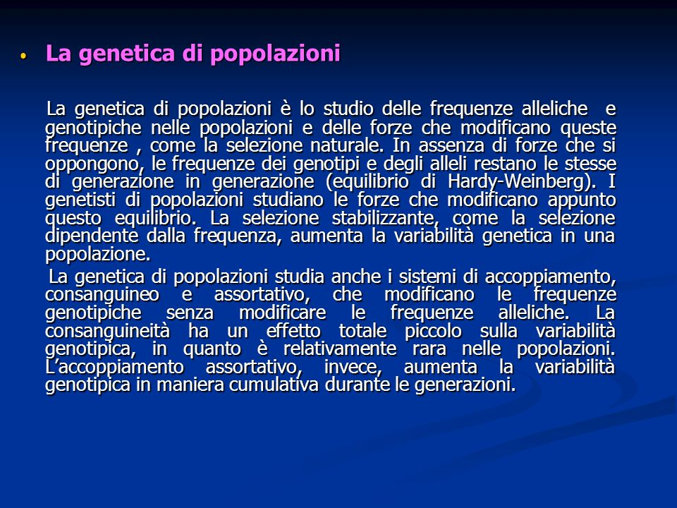 La genetica di popolazioni
