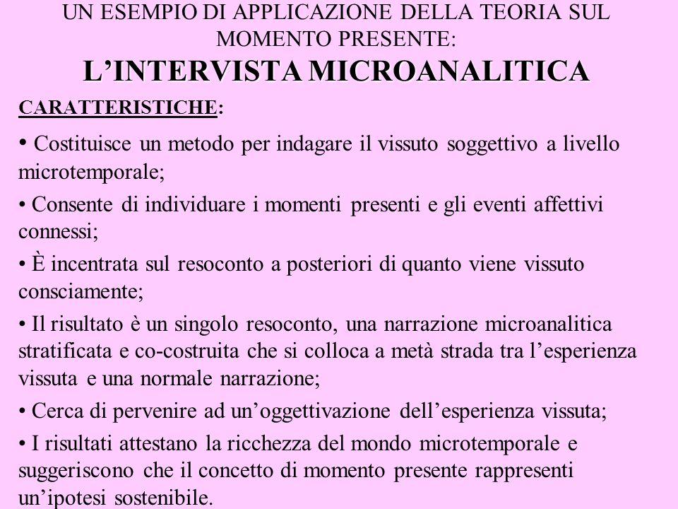 UN ESEMPIO DI APPLICAZIONE DELLA TEORIA SUL MOMENTO PRESENTE: L'INTERVISTA MICROANALITICA