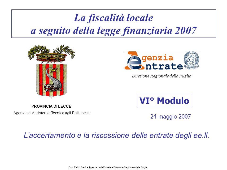 La fiscalità locale a seguito della legge finanziaria 2007