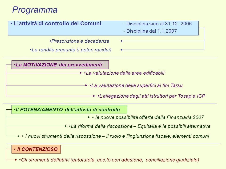 Programma L'attività di controllo dei Comuni - Disciplina sino al 31.12. 2006. - Disciplina dal 1.1.2007.
