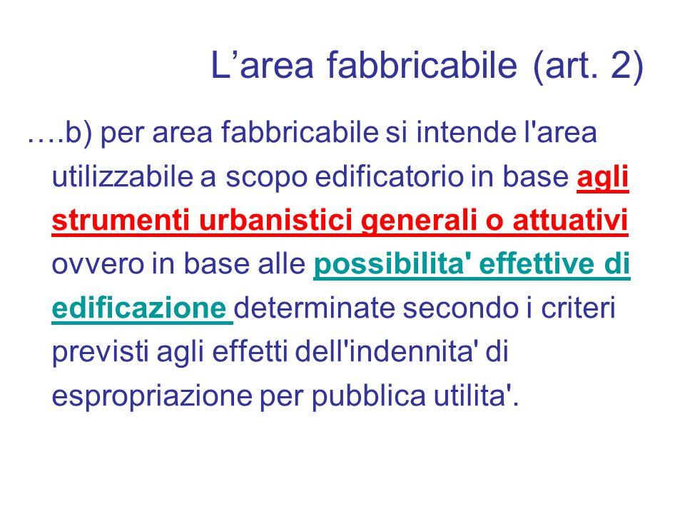 L'area fabbricabile (art. 2)