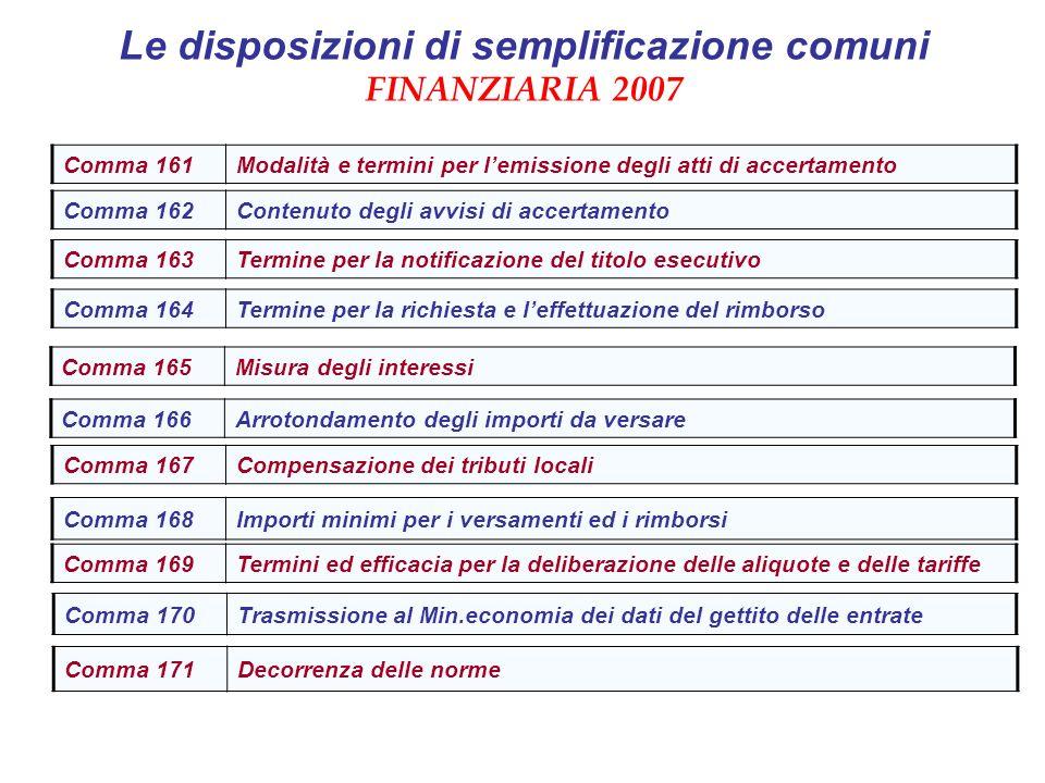 Le disposizioni di semplificazione comuni FINANZIARIA 2007