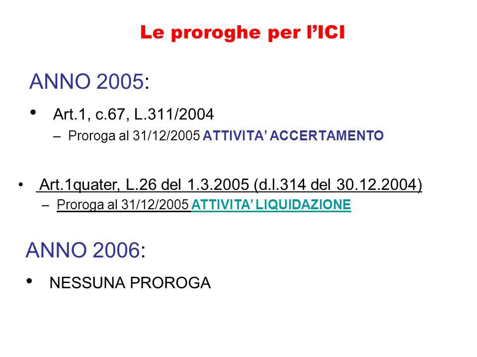ANNO 2005: Art.1, c.67, L.311/2004 ANNO 2006: NESSUNA PROROGA