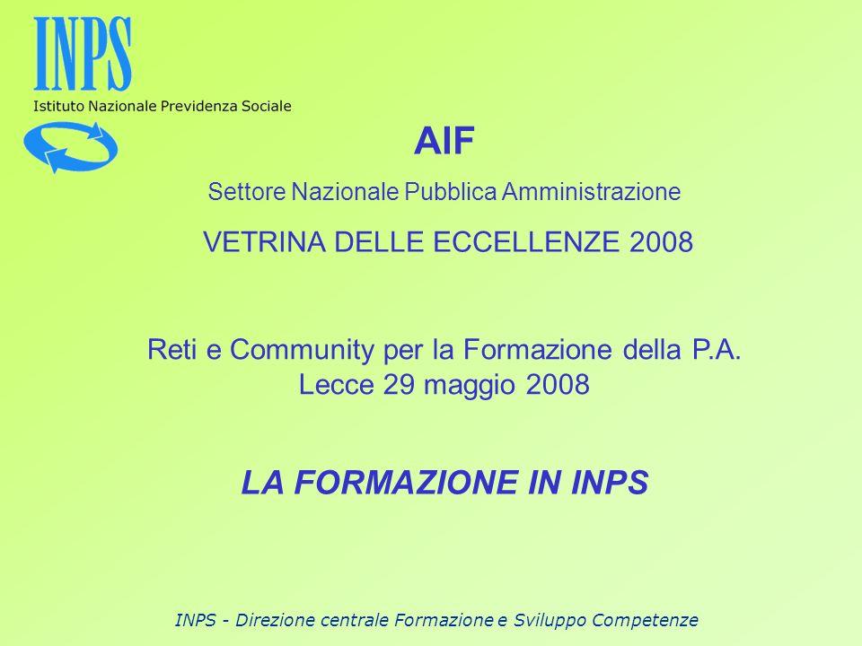 AIF LA FORMAZIONE IN INPS VETRINA DELLE ECCELLENZE 2008