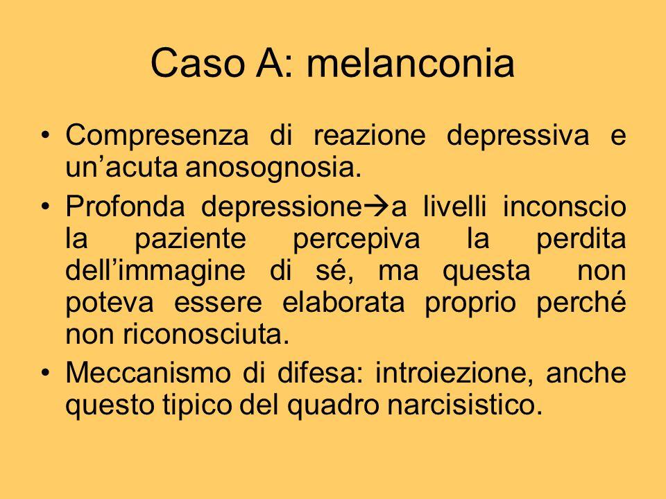 Caso A: melanconia Compresenza di reazione depressiva e un'acuta anosognosia.