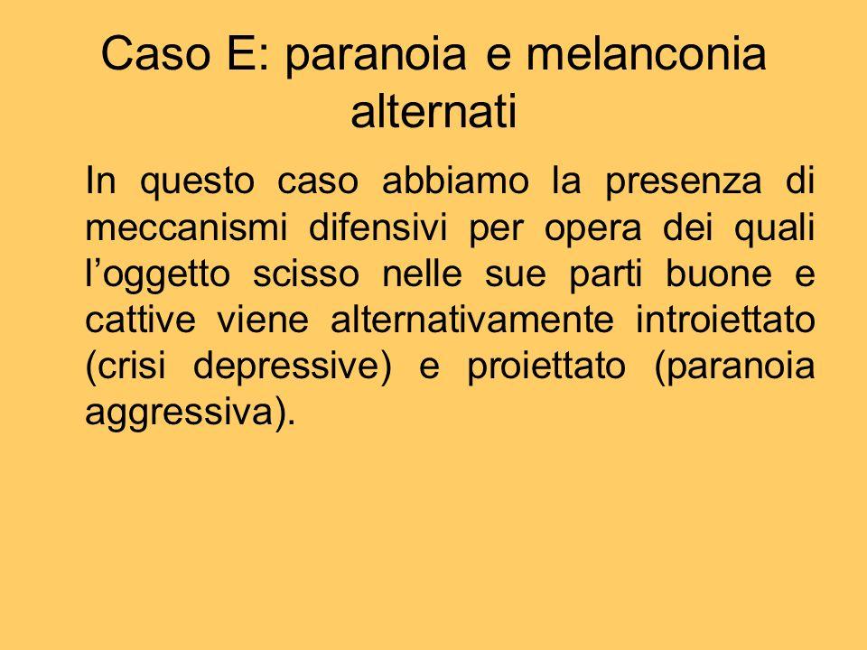 Caso E: paranoia e melanconia alternati