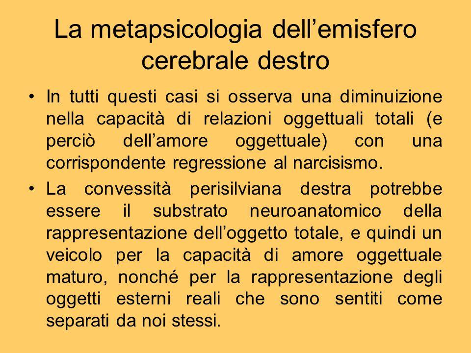 La metapsicologia dell'emisfero cerebrale destro