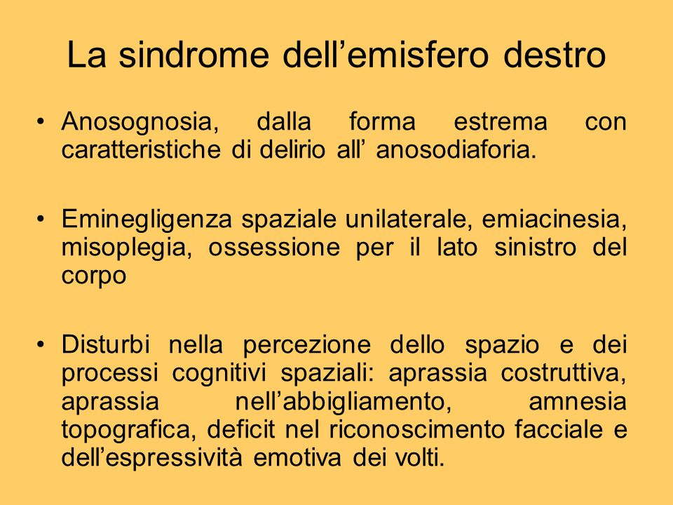 La sindrome dell'emisfero destro