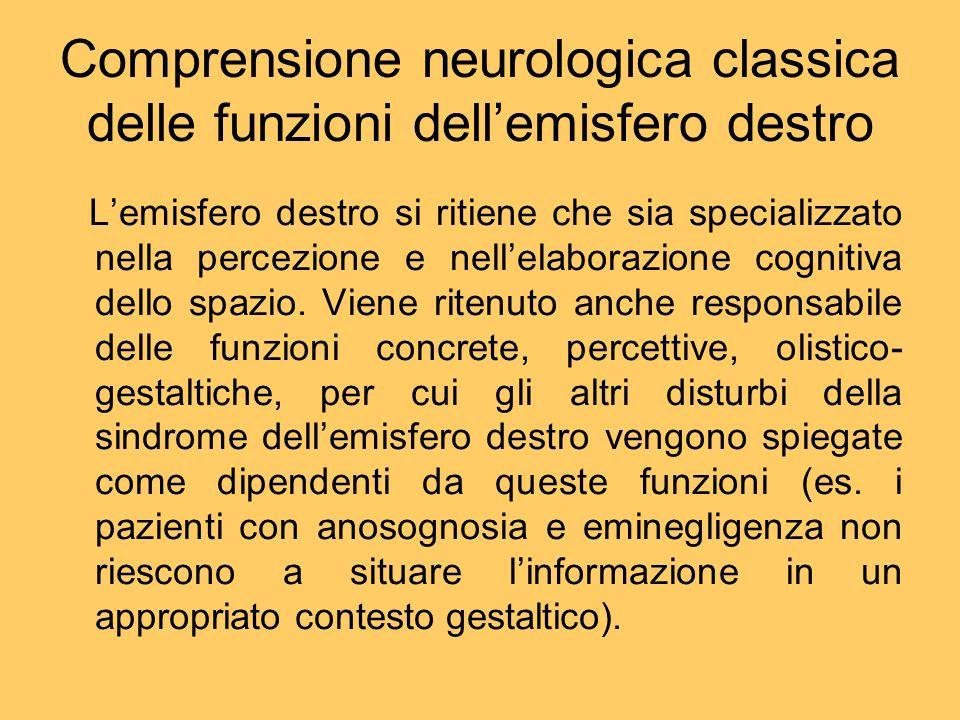 Comprensione neurologica classica delle funzioni dell'emisfero destro