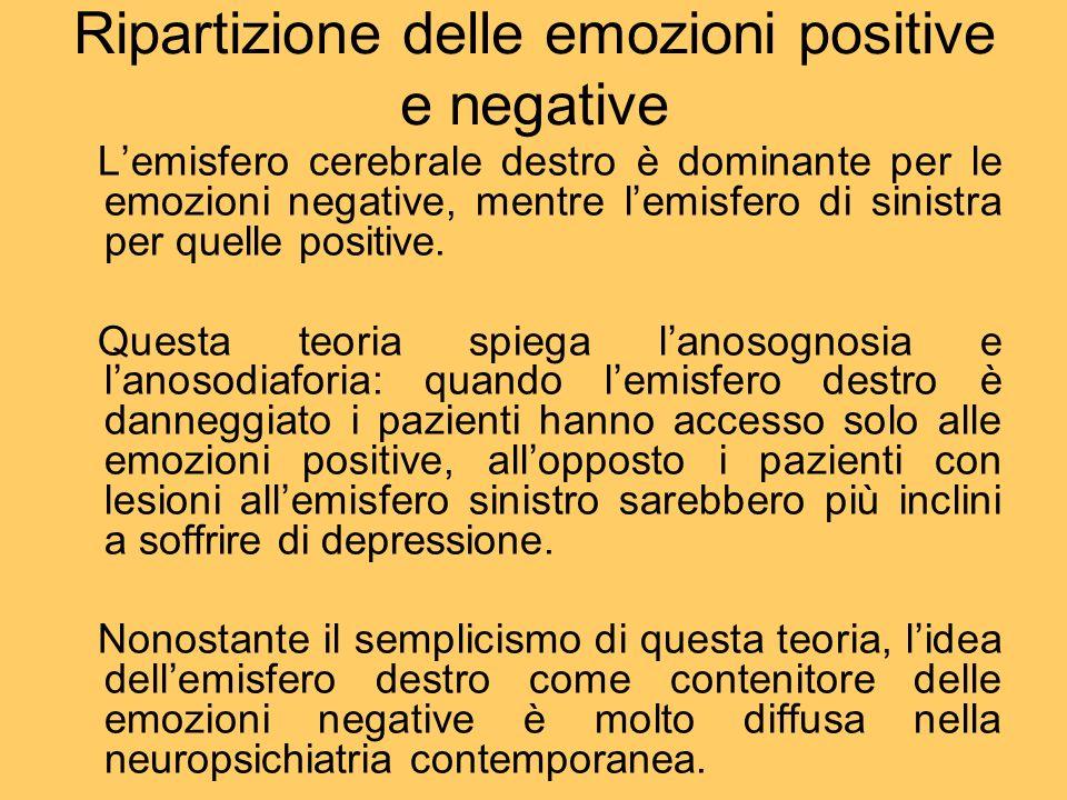 Ripartizione delle emozioni positive e negative