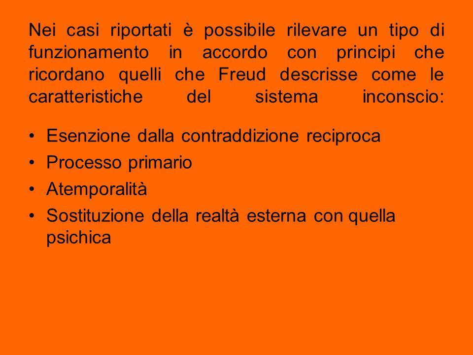 Nei casi riportati è possibile rilevare un tipo di funzionamento in accordo con principi che ricordano quelli che Freud descrisse come le caratteristiche del sistema inconscio: