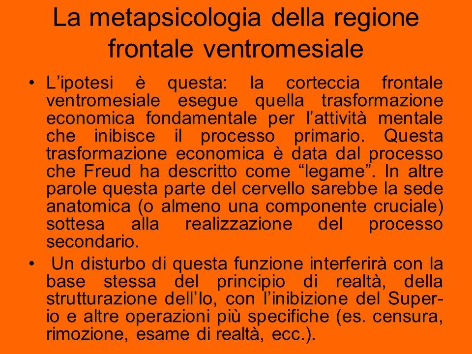 La metapsicologia della regione frontale ventromesiale
