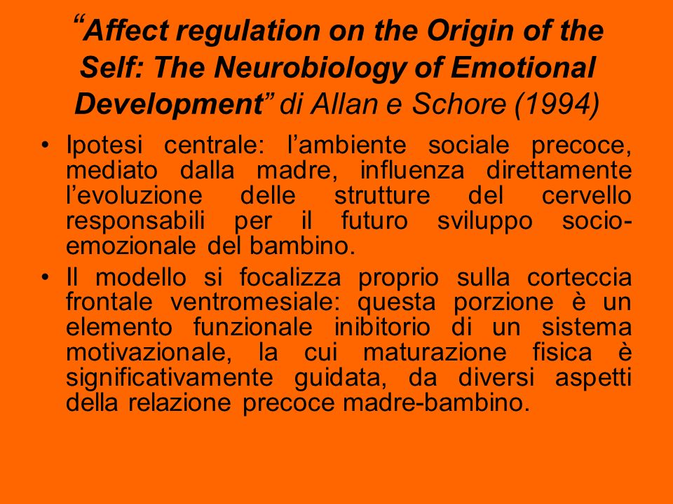 Affect regulation on the Origin of the Self: The Neurobiology of Emotional Development di Allan e Schore (1994)