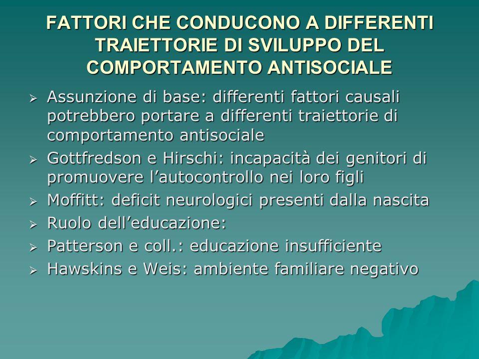 FATTORI CHE CONDUCONO A DIFFERENTI TRAIETTORIE DI SVILUPPO DEL COMPORTAMENTO ANTISOCIALE