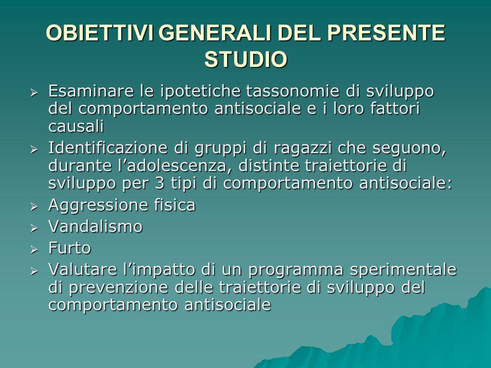 OBIETTIVI GENERALI DEL PRESENTE STUDIO