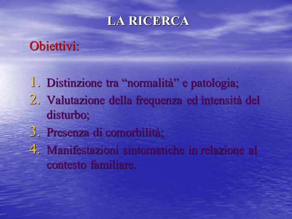 LA RICERCA Obiettivi: Distinzione tra normalità e patologia;