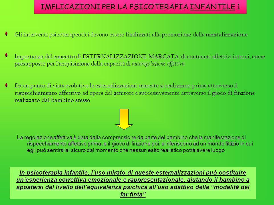 IMPLICAZIONI PER LA PSICOTERAPIA INFANTILE 1