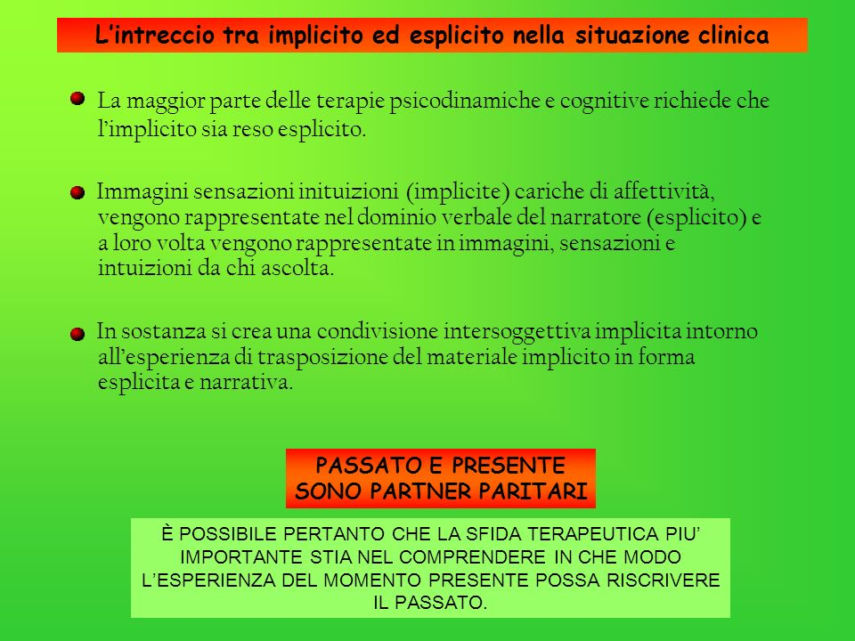 L'intreccio tra implicito ed esplicito nella situazione clinica