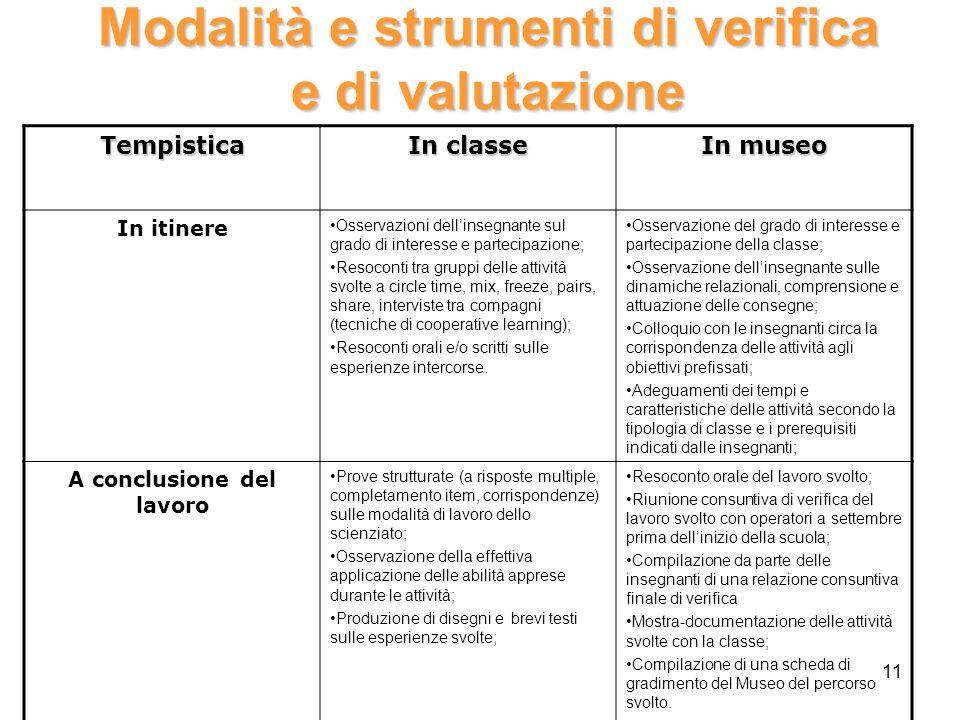 Modalità e strumenti di verifica e di valutazione