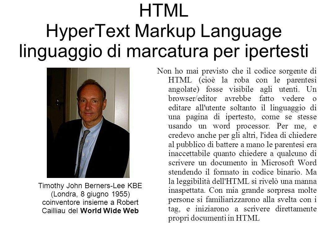 HTML HyperText Markup Language linguaggio di marcatura per ipertesti