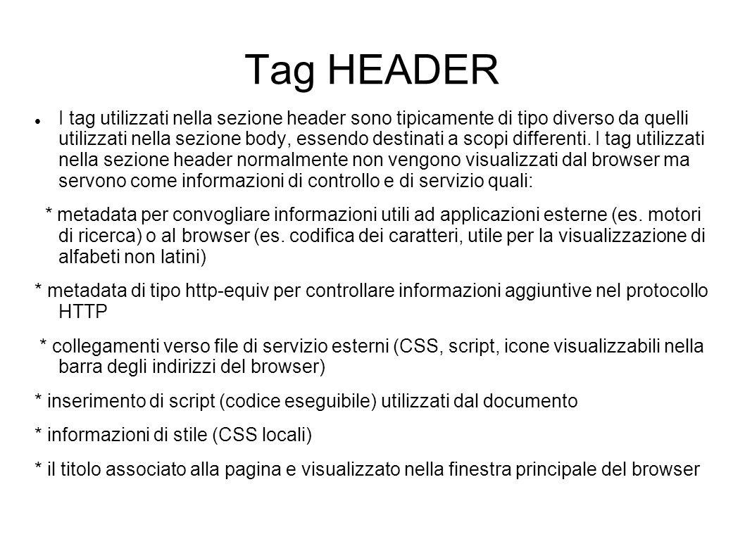 Tag HEADER