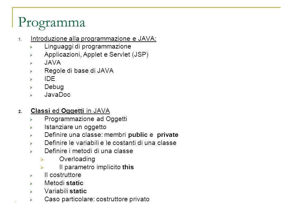 Programma Introduzione alla programmazione e JAVA: